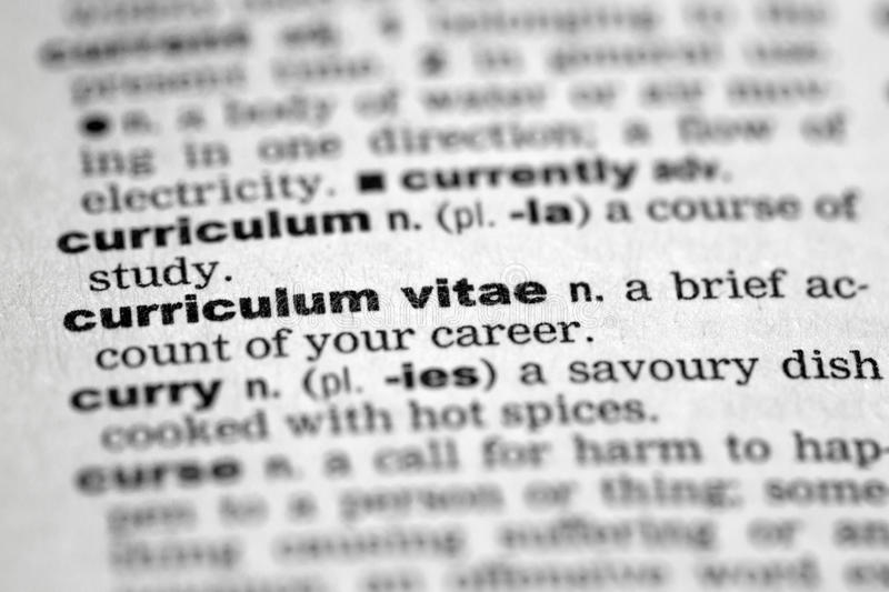 Curriculum vitae. Dictionary details of the word curriculum vitae stock images