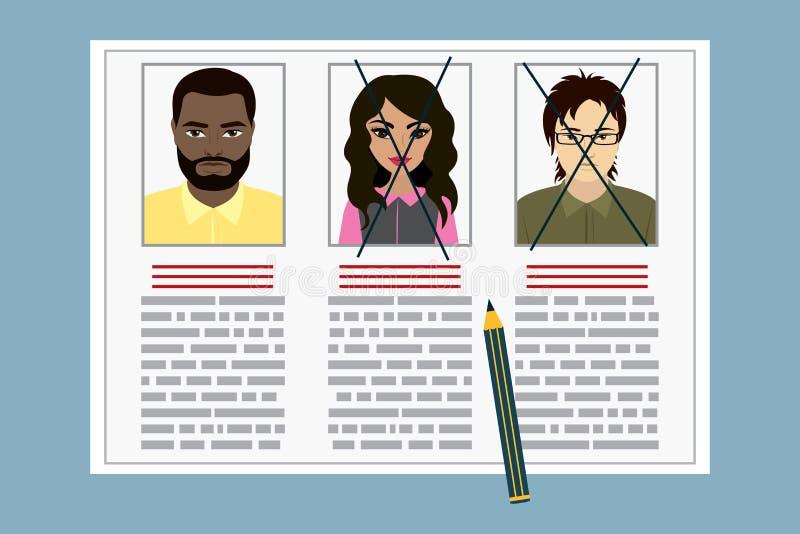 Curriculum vitae-Einstellungs-Kandidat Job Position lizenzfreie abbildung