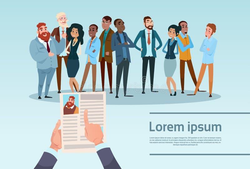 Curriculum vitae-Einstellungs-Kandidat Job Position, Handgriff Lebenslauf-Profil wählen Gruppen-Geschäftsleute Mietinterview- lizenzfreie abbildung