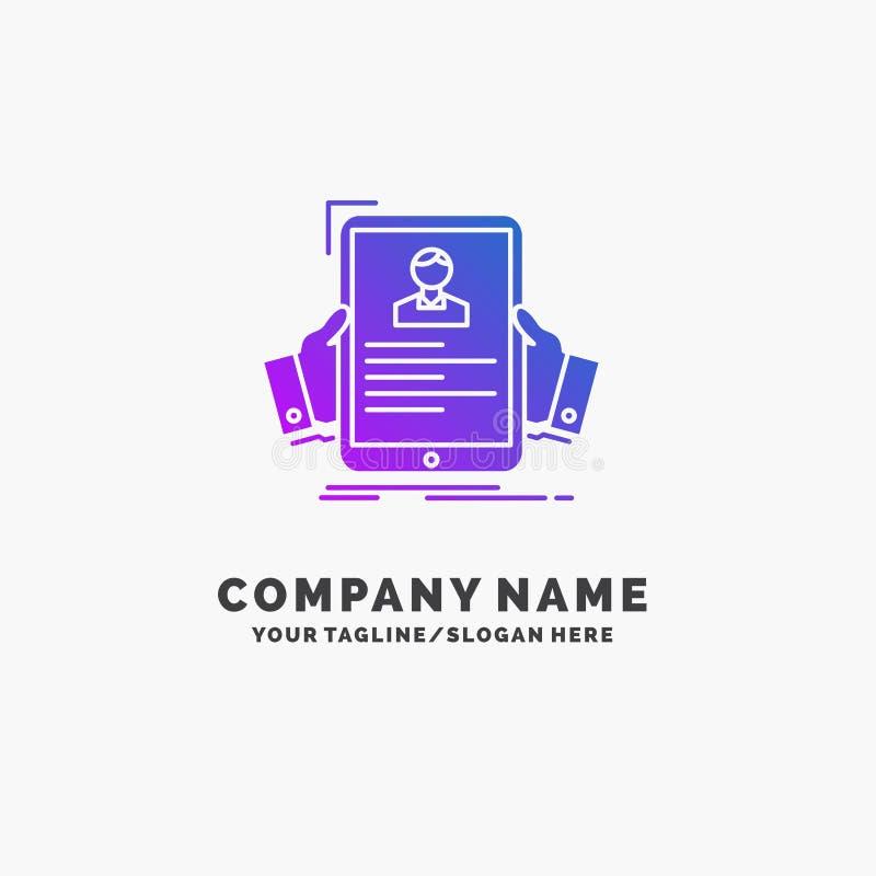 curriculum vitae, empleado, empleando, hora, negocio púrpura Logo Template del perfil Lugar para el Tagline stock de ilustración