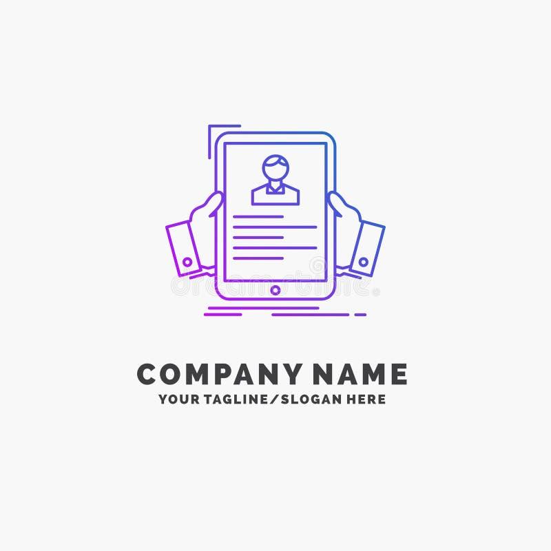 curriculum vitae, empleado, empleando, hora, negocio p?rpura Logo Template del perfil Lugar para el Tagline libre illustration