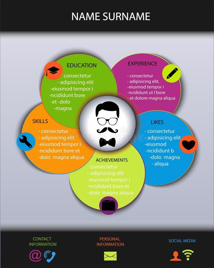 Curriculum vitae Hervat modern creatief ontwerp royalty-vrije illustratie