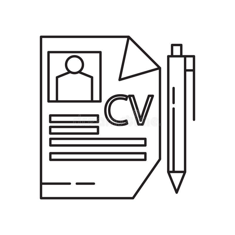 Curriculum vitae-Ikonenvektorzeichen und -symbol lokalisiert auf weißem Hintergrund, curriculum vitae-Logokonzept stock abbildung