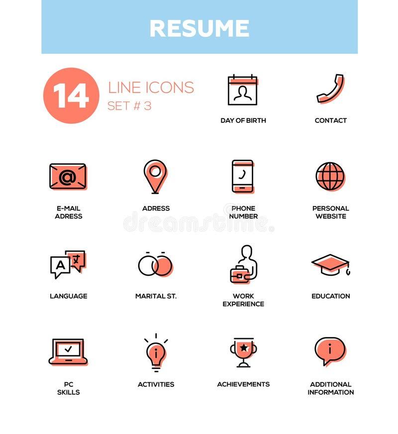 Curriculum vitae - línea fina simple moderna iconos del diseño, pictogramas fijados libre illustration