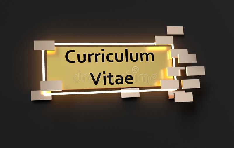 Curriculum vitae modern gouden teken stock illustratie