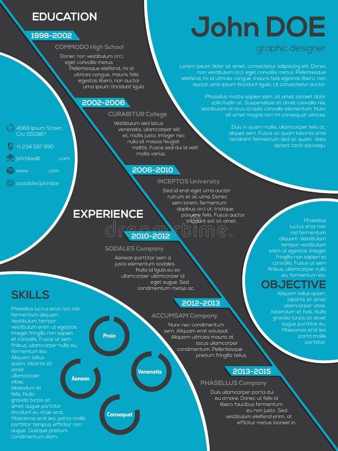 Curriculum vitae moderne de résumé avec les éléments frais de cercle illustration libre de droits
