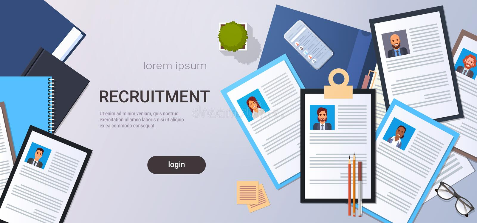 Curriculum vitae recruitment candidate job position cv profile top angle view workplace desktop smartphone business. People contact list resume copy space stock illustration