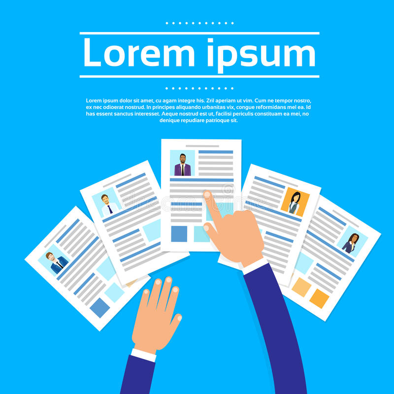 Curriculum Vitae Recruitment Candidate Job. Position, Hands Hold CV Profile Choose Business People to Hire Vector Illustration