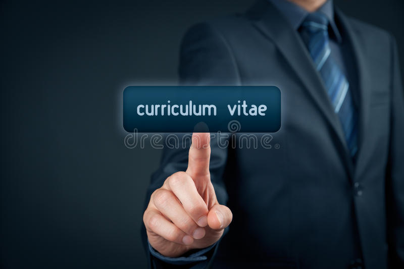 Curriculum vitae. Saved on internet. Human resources officer click on virtual  button stock photos