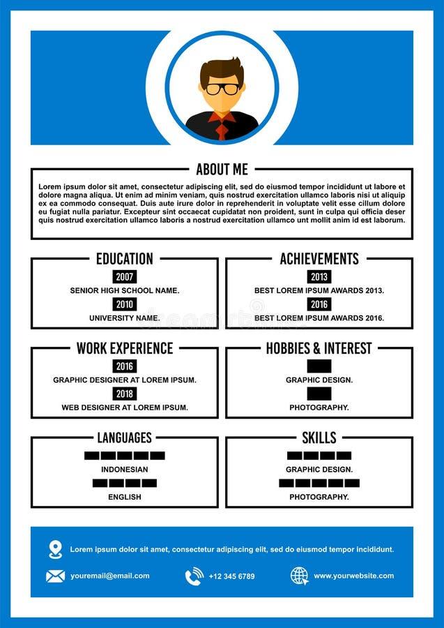 Curriculum vitae A4/vector de la plantilla del diseño del curriculum vitae ilustración del vector