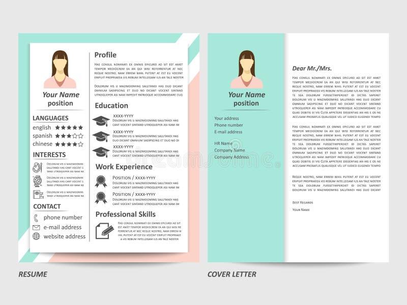 Curriculum vitae y plantilla femeninos de la carta de presentación stock de ilustración
