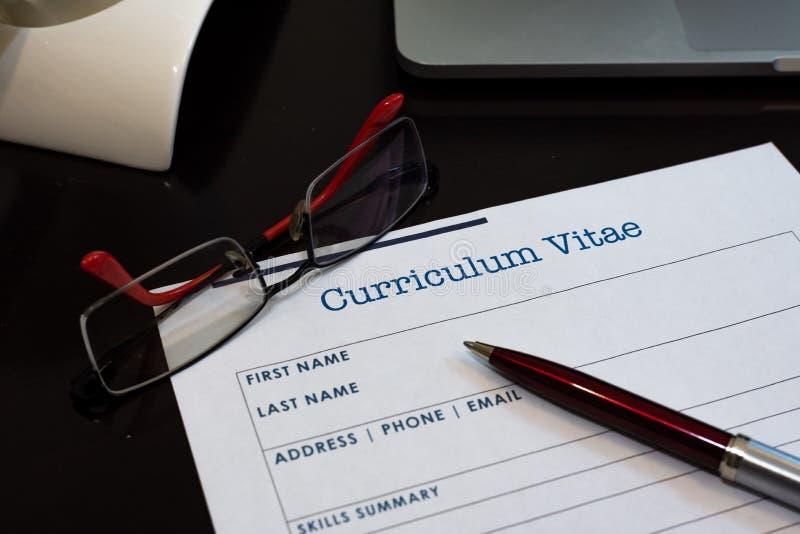 Curriculum vitaevorm stock fotografie