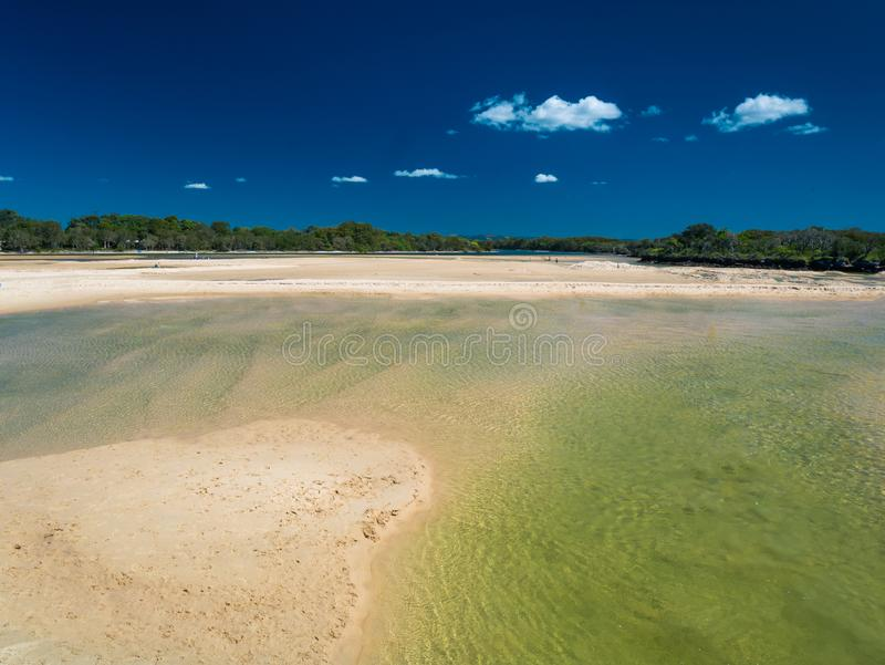 Currimundi lake during low tide, family friendly beach, Caloundra, Queensland, Australia royalty free stock photo