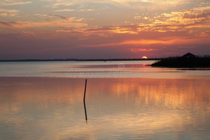 Currituck ljud på solnedgången arkivbilder