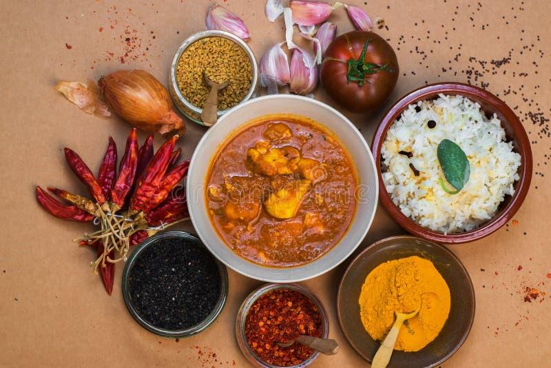 Curry, arroz y condimentos del pollo de Madras en pequeño cuenco foto de archivo