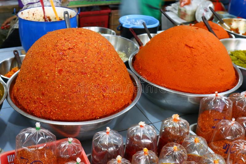 Curry in the bazaar, Spicy Curry pile, Curry red orange colorful spice market, Traditional spices hot food in local bazaar in Thai royalty free stock photos