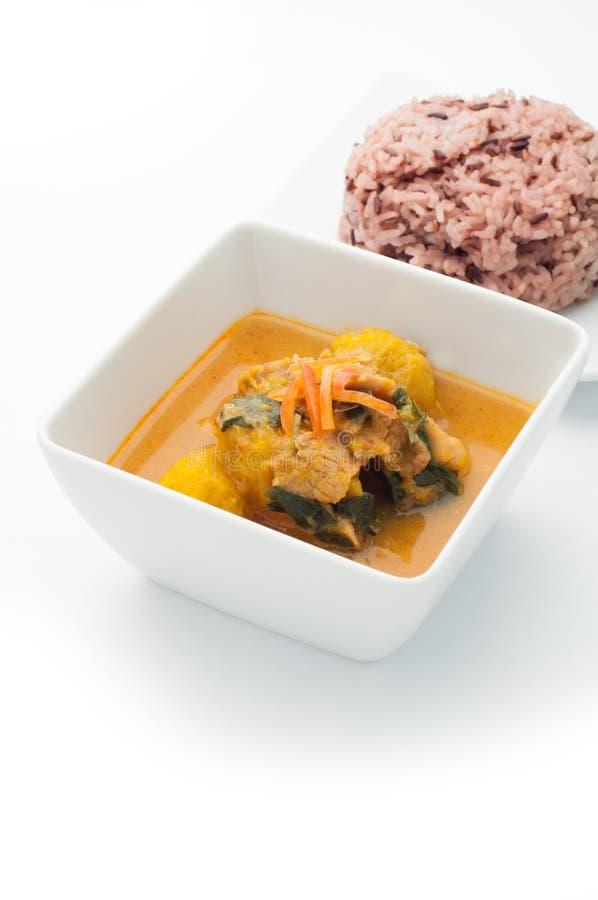 Curry caldo della zucca, alimento tailandese piccante immagine stock
