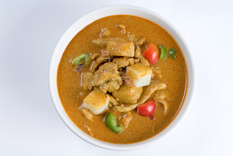 Curry chicken pepper soup stock images