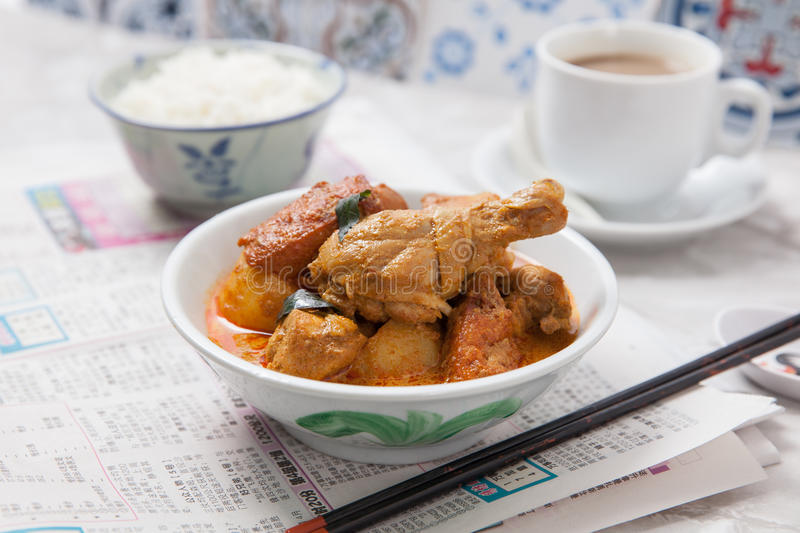 Curry chicken with rice and coffee stock photos
