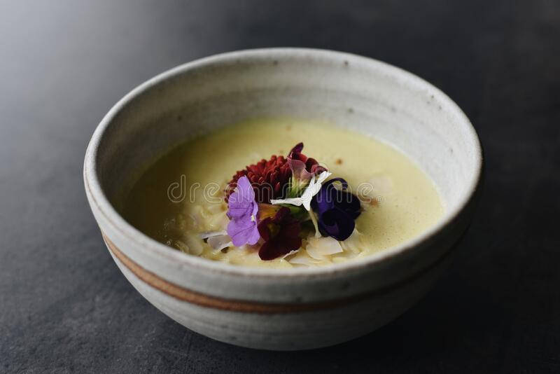 Curry Corn Soup in Fine Dining Restaurant.  stock photos