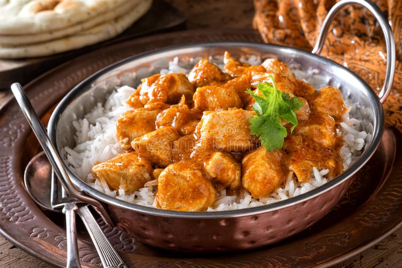 Curry cremoso del pollo de la mantequilla fotografía de archivo libre de regalías
