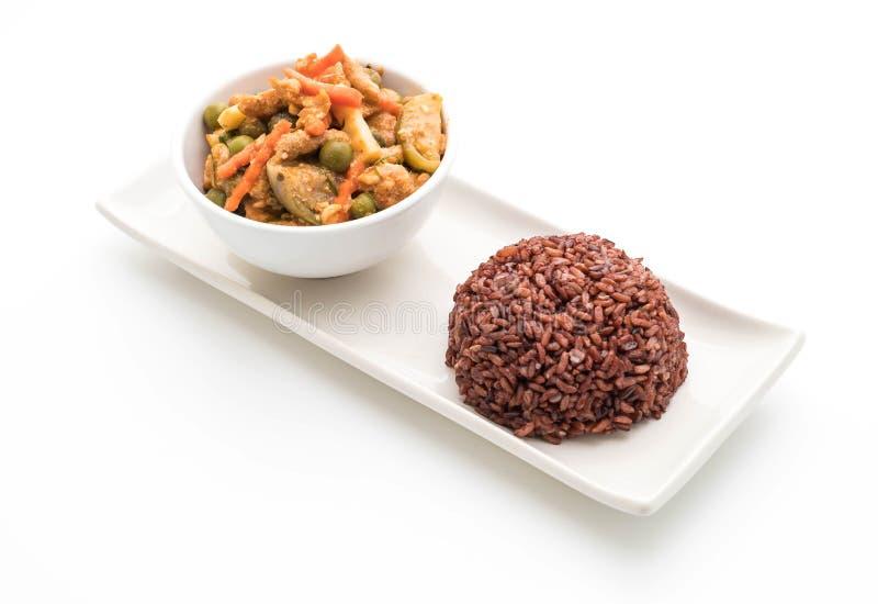 Curry de Panaeng con arroz del cerdo y de la baya fotos de archivo libres de regalías