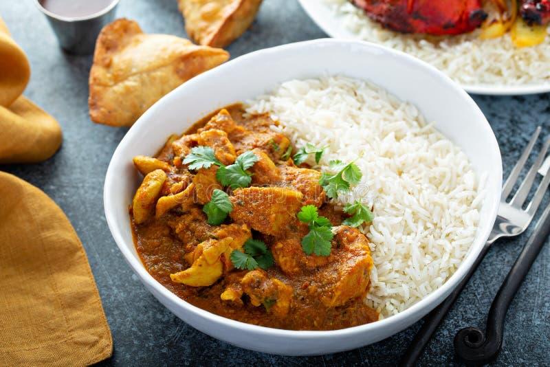 Curry del pollo con il riso del gelsomino immagine stock