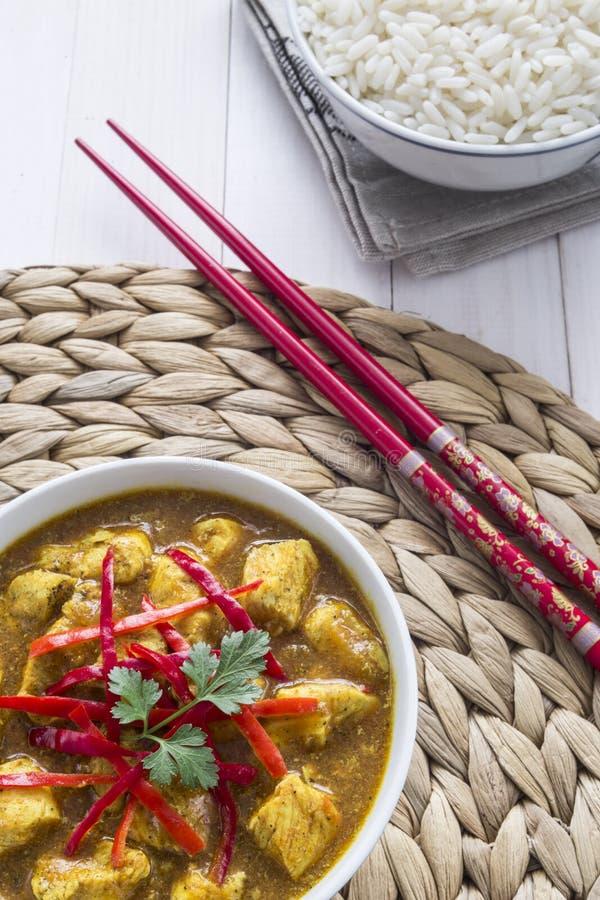 Curry del pollo, con las cebollas y el chile imagenes de archivo