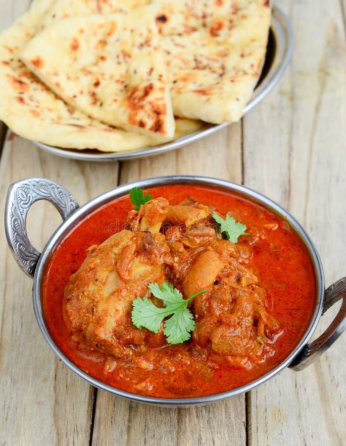 Curry del pollo con naan immagine stock libera da diritti