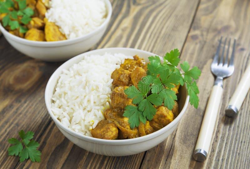 Curry del pollo con riso immagine stock libera da diritti