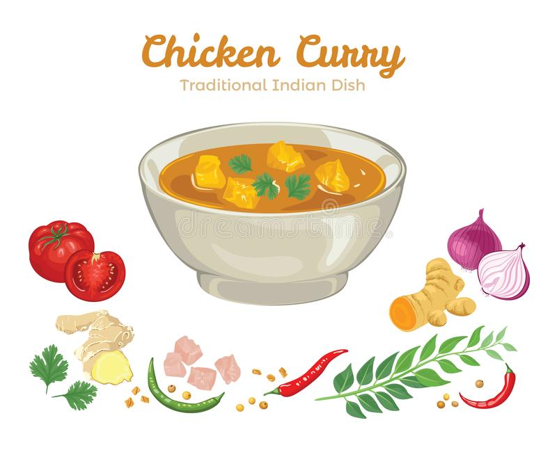 Curry del pollo Ejemplo del vector de la comida popular libre illustration