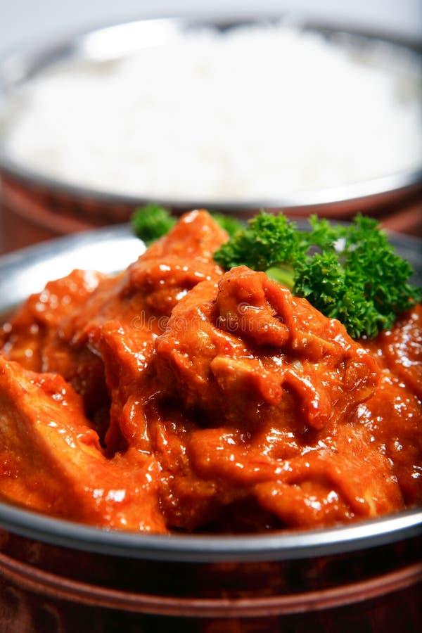 Curry del pollo y cena del arroz fotografía de archivo