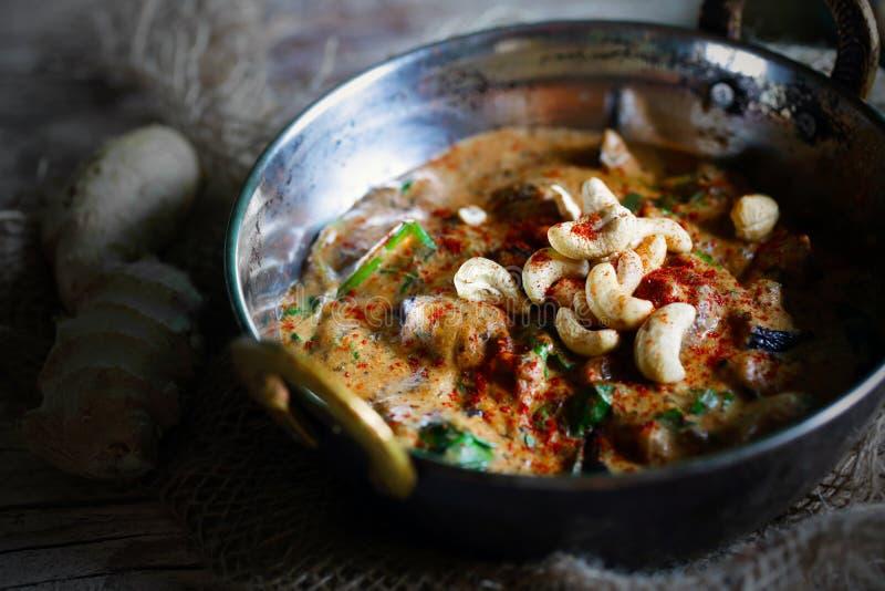 Curry dell'anacardio, del pollo e della melanzana, masala del burro di kaju immagini stock libere da diritti