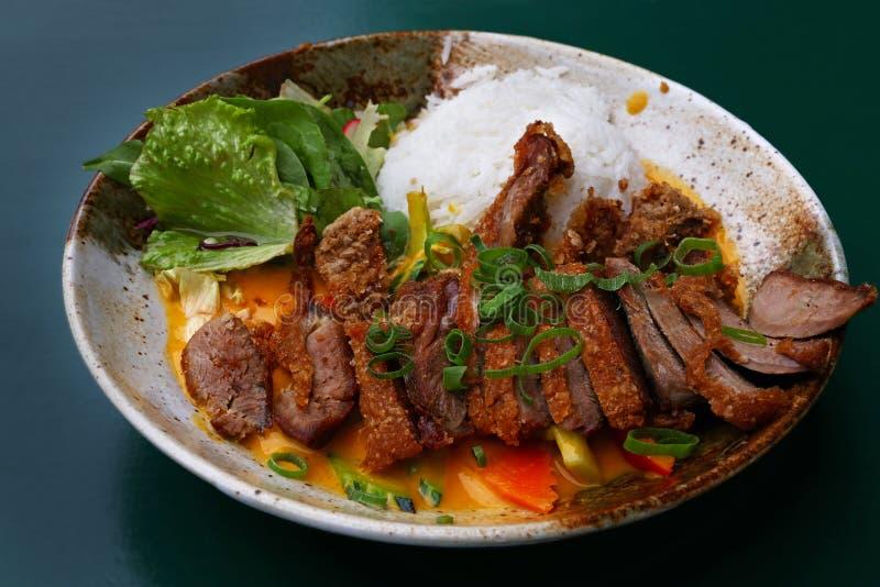 Curry dell'anatra di Pechino con riso ed insalata fotografia stock libera da diritti