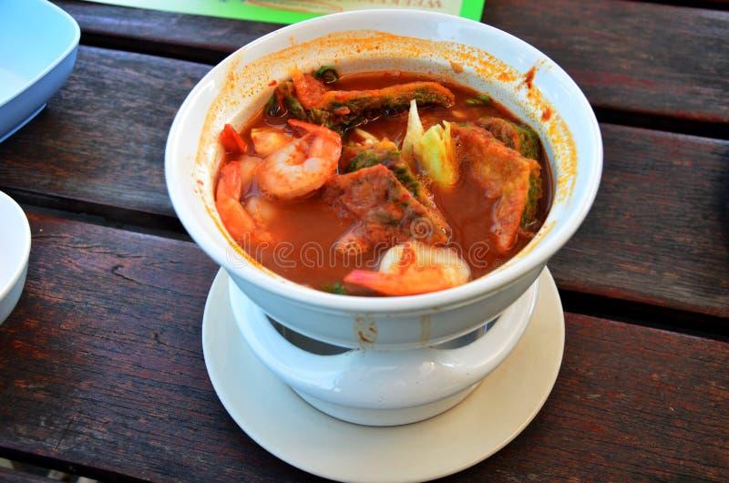 Curry della minestra e piccante con la verdura e l'omelette di permesso di Accacia e immagini stock libere da diritti