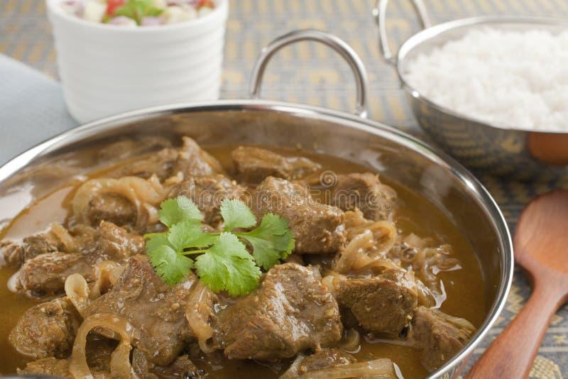Curry di agnello con le cipolle immagine stock
