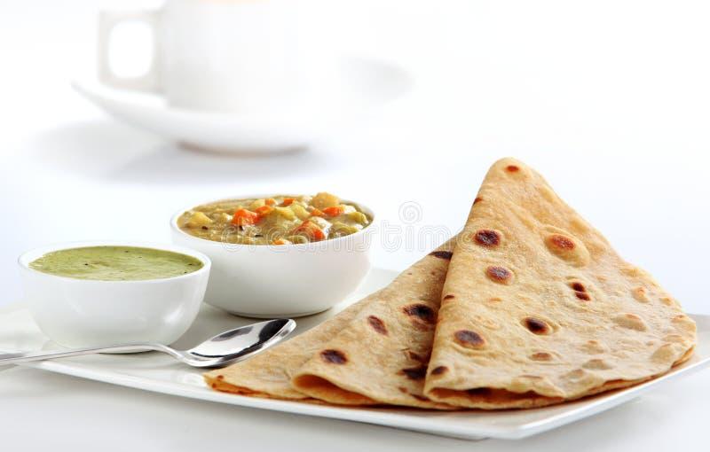 Curry e focaccia di verdure indiani fotografia stock