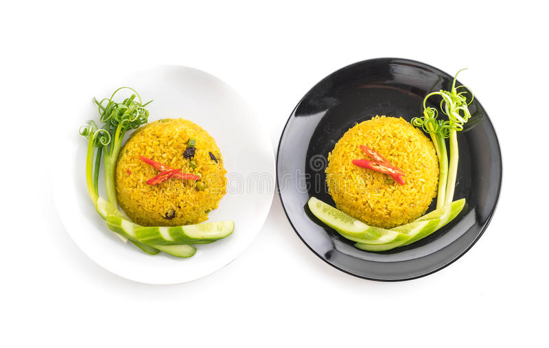 Curry fried rice. On white background stock photo