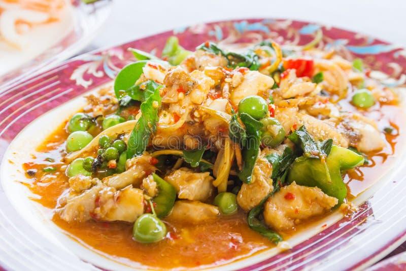 Curry fritto del pesce fotografia stock
