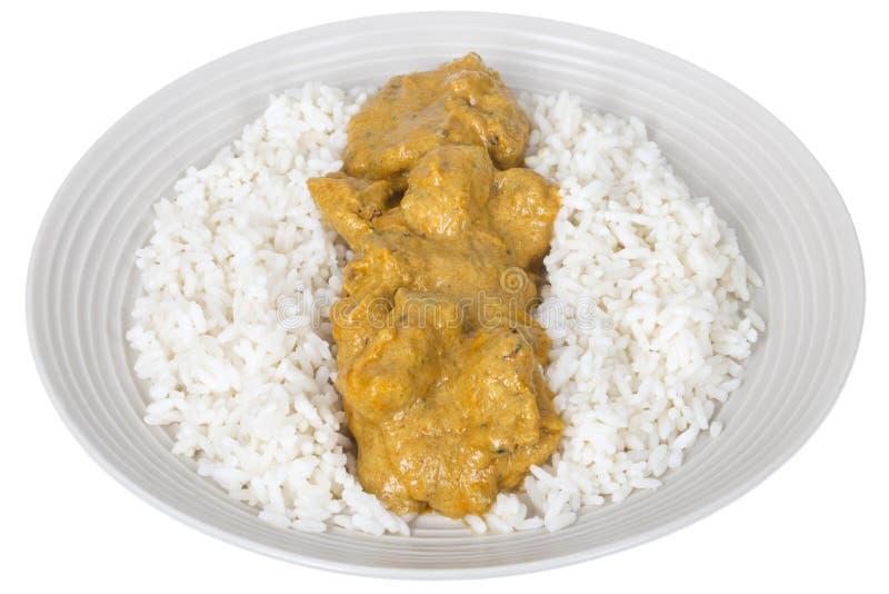 Curry indiano del pollo fresco con riso basmati bianco immagini stock libere da diritti