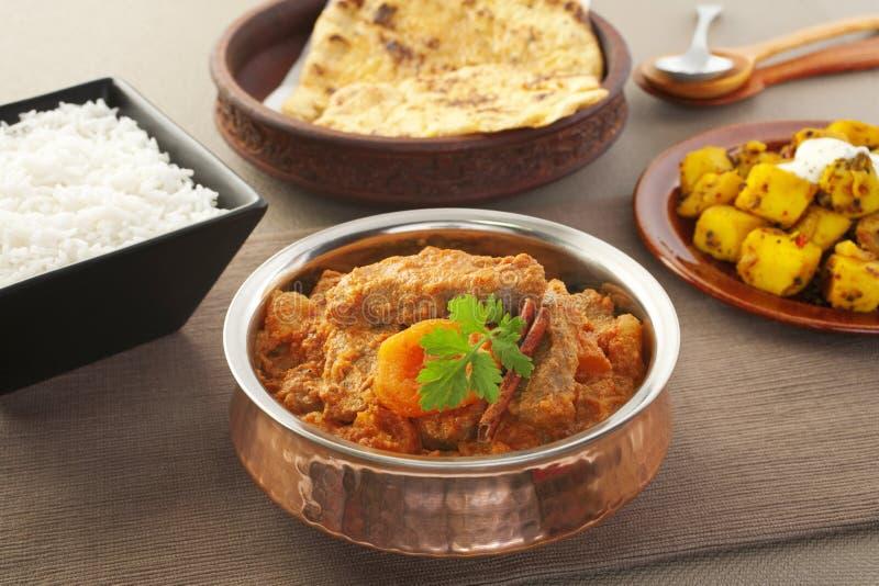 Curry indio del cordero de Karahi con los albaricoques fotografía de archivo
