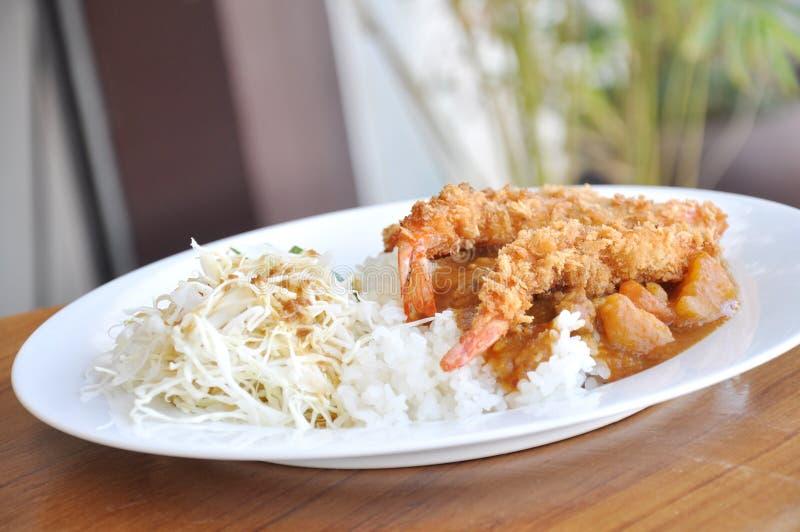 Curry på Rice och tempura fotografering för bildbyråer