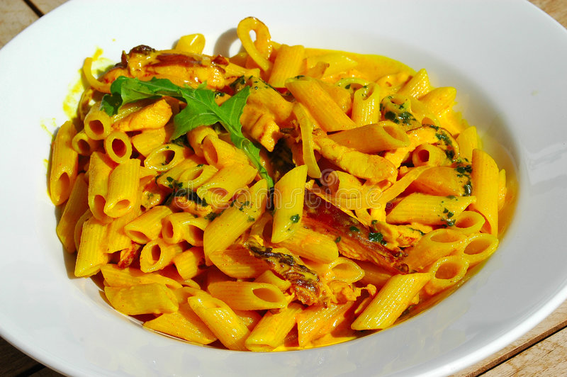 Curry pasta stock photography