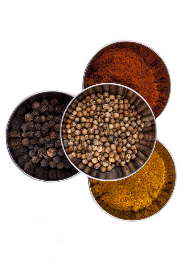 Curry, pepper, paprika and coriander - white background. stock photos