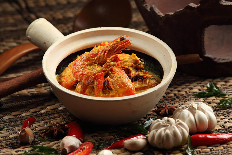 Curry Prawn. A Malaysian traditional curry prawn stock photography
