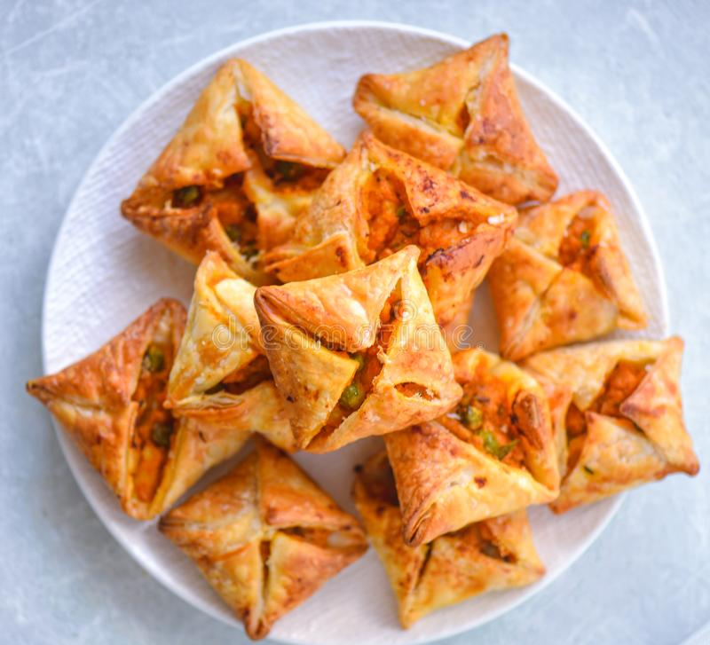 Curry puffs-Vegetarian puff pastry royalty free stock image