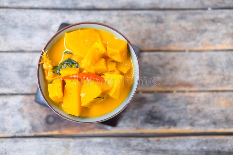 Curry pumpkin with shrimp. Top view curry pumpkin with shrimp ,Thai style food royalty free stock images