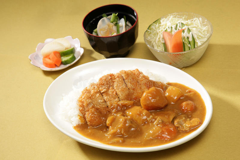 Curry with rice. Japanese style royalty free stock image