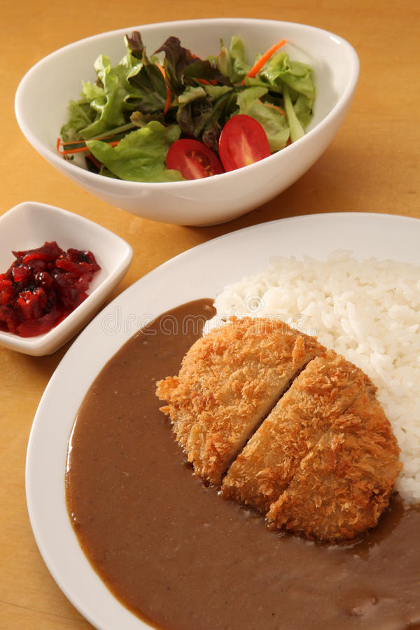 Curry with rice. Japanese style stock photos