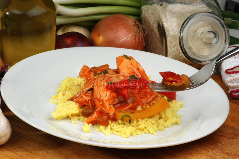 Download Curry Rice With Sweet And Sour Chicken Stock Image - Image: 12753677